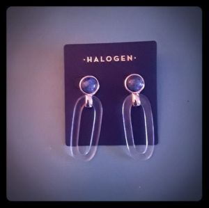 Halogen Lapis and Resin Pierced Earrings NWT